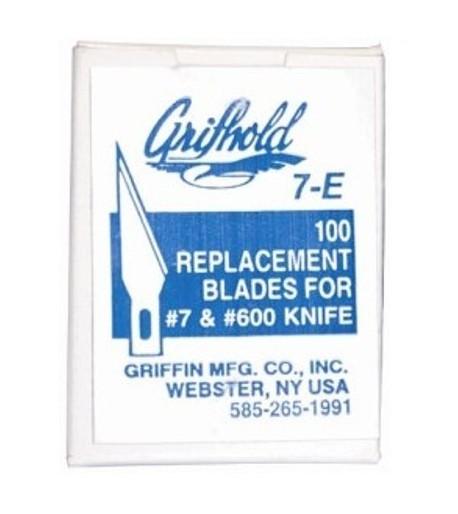 Puntas de Reemplazo #7E para Bisturí (x-acto) marca Grifhold - 100pzs
