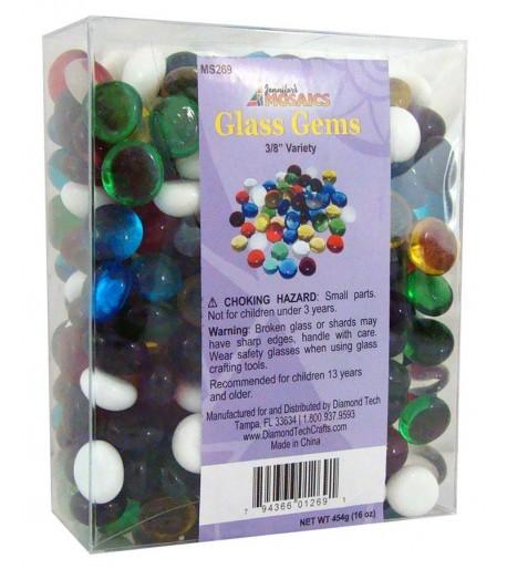 Gemas / Nuggets de Vidrio Chicas de Colores para Vitrales y Vitromosaico - 1lb