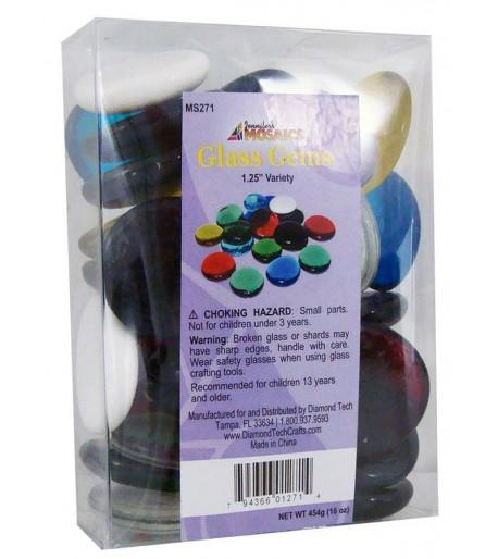 Gemas de Vidrio Grandes de Colores para Vitrales y Vitromosaico - 1lb