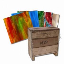 Paquete de Vidrio Kokomo Pony Crate con 50pzs para Vitrales y Vitromosaico
