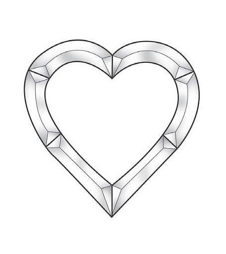 Cluster Biselado de Corazón en Vidrio Claro / Transparente