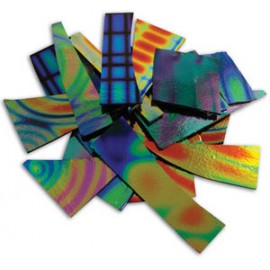 Pedacería Dicroica DichroMagic Tie Dye en Negro con Diseños - 1/4lb