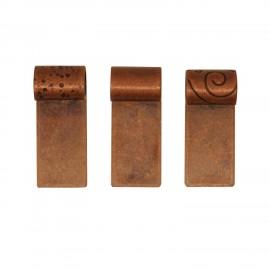 Variedad de Colgantes en Tubo Chapados en Cobre Antiguo - 10pzs